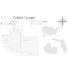 Map collier county in florida vector