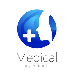 Medical sign with cross human profile vector