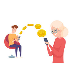 money transfer boy send pay with phone financial vector image