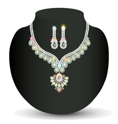 Necklace and earrings wedding womens diamond vector