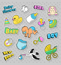 New born baby stickers patches badges vector