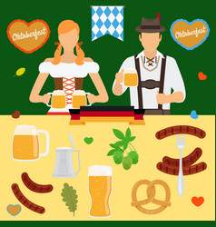 Oktoberfest icons germany beer festival vector