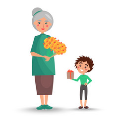 old woman holds bouquet of flowers and grandson vector image