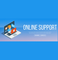 Online support banner vector