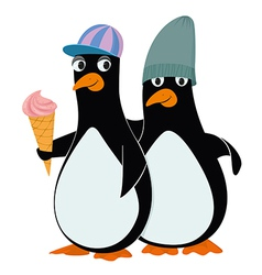 Penguins and ice cream vector
