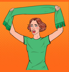 pop art woman soccer fan with scarf vector image