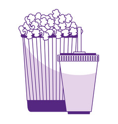 Pop corn with soda isolated icon vector