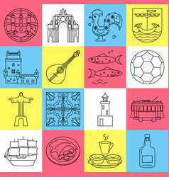 portugal icons set in thin line style vector image