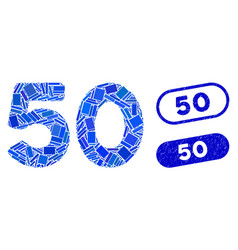 Rectangle collage 50 digits text with textured 50 vector