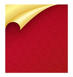 Red paper with vintage texture and curled corner vector