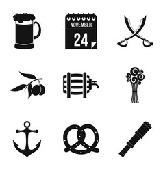 Rom icons set simple style vector