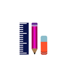 ruler pencil and eraser on a white background vector image