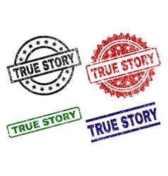 Scratched textured true story seal stamps vector