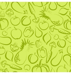Seamless background with fruit and vegetables vector