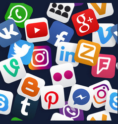 seamless pattern social media icons vector image