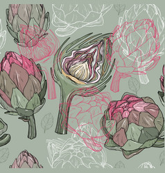 Seamless pattern with hand drawn artichoke vector
