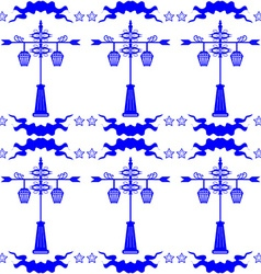 Seamless pattern with streetlight in Dutch tile vector