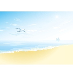Seascape with sea surfacecloudy sky seagull vector