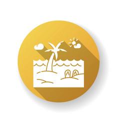 seaside resort yellow flat design long shadow vector image