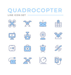 set color line icons quadrocopter vector image