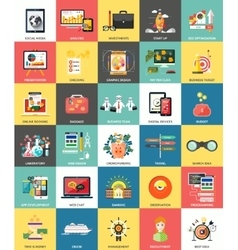 Set of business concepts icons vector