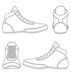 Set with wrestlin shoes vector