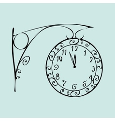 Street clock with a dial midnight new year vector