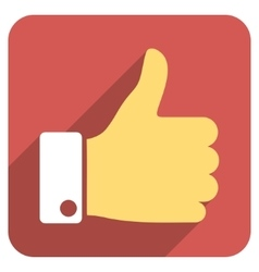 Thumb Up Flat Rounded Square Icon with Long Shadow vector image