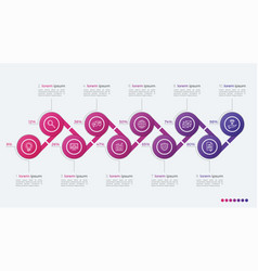 Timeline infographic design with ellipses 10 steps vector
