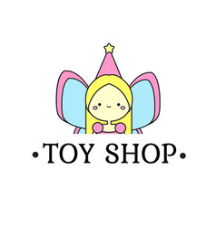 toy shop logo template with cute fairy sign vector image