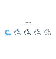 Tsunami icon in different style two colored vector