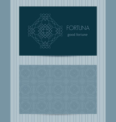 two sided business card ornamental design vector image