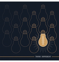 Vintage bulb think different vector