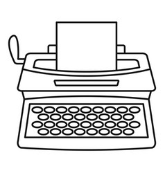 Vintage typewriter icon outline style vector