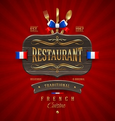 Vintage wooden sign for french restaurant vector
