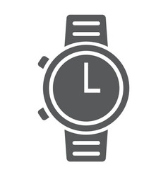 Watch glyph icon clock and time starp sign vector