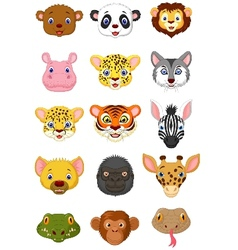 Wild animal head cartoon vector