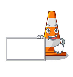 With board traffic cone on road cartoon shape vector
