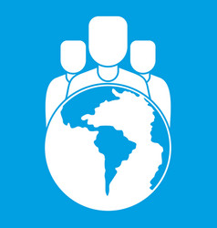 World planet and people icon white vector
