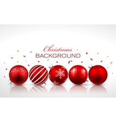 Christmas red balls with reflection vector image vector image