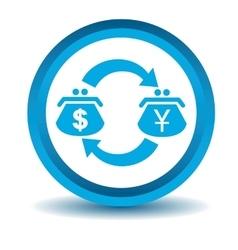 Dollar-yen trade icon blue 3D vector image