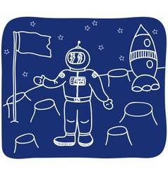 Drawing of an astronaut on the planet vector image
