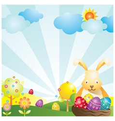 Easter with Bunny and Eggs Background vector image
