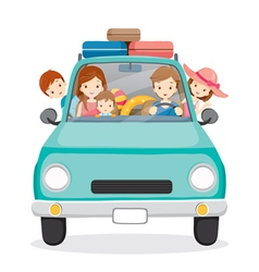 Family on Car Driving to Travel vector image vector image