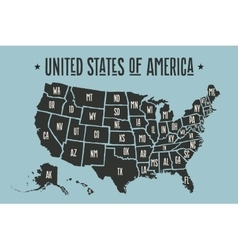 Poster map united states of america with state vector