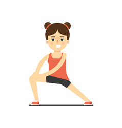 sporty smiling girl in sportswear stretching vector image vector image