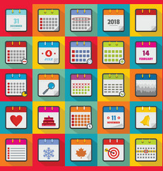 calendar icons set flat style vector image