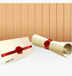 Envelope with paper scroll and red wax seal vector
