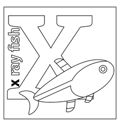 Letter x coloring page vector