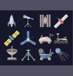 stylish space ship constellation astrology radar vector image